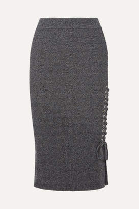 McQ Lace-up Ribbed-knit Cotton-blend Midi Skirt - Gray