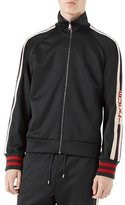 Gucci Technical Jersey Track Jacket, Black/White