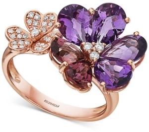 Effy Multi-Gemstone (3-7/8 ct. t.w.) & Diamond (1/6 ct. t.w.) Flower Statement Ring in 14k Rose Gold