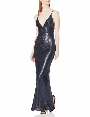ABS by Allen Schwartz Women's Fitted Sequins Gown with Skinny STRPS