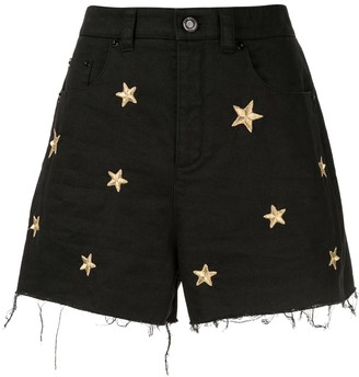 Saint Laurent Star Embroidered Denim Shorts