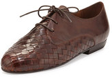 Sesto Meucci Naxos Woven Leather Oxford, Dark Tan