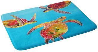 "Deny Designs Clara Nilles Tie Dye Sea Turtles Memory Foam Bath Mat, 17""x24"""