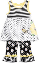 Nannette 2-Pc. Mixed-Print Bee Peplum Tunic and Capri Leggings Set, Baby Girls (0-24 months)