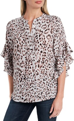 Vince Camuto Animal Print Pintuck Detail Flutter Sleeve Blouse