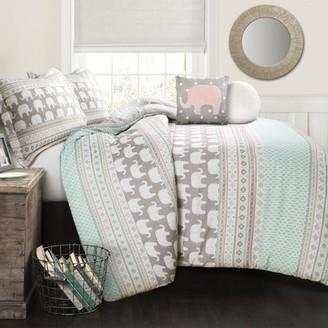 Lush Decor Elephant Stripe Comforter Turquoise/Pink 4Pc Set Twin