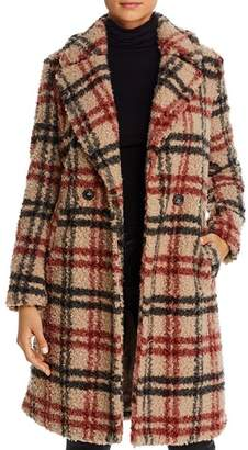 Vero Moda Anne Double-Breasted Plaid Teddy Coat
