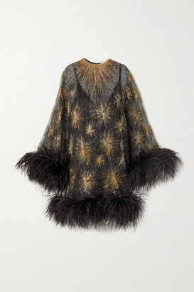 Saint Laurent Feather-trimmed Beaded Embroidered Silk-organza Mini Dress - Black