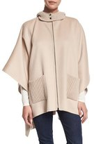Neiman Marcus Double-Faced Hooded Cashmere Cape, Sand/Bone