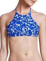Milly Brushstroke High-Neck Halter Bikini Top