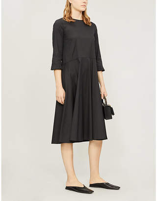Max Mara S Bead-embellished flared cotton-blend dress