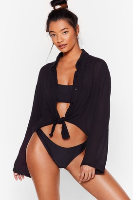 Nasty Gal Womens Cropped Cover-Up Shirt in a Crinkle Fabric - Black