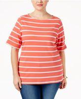 Karen Scott Plus Size Nina Striped Top, Only at Macy's