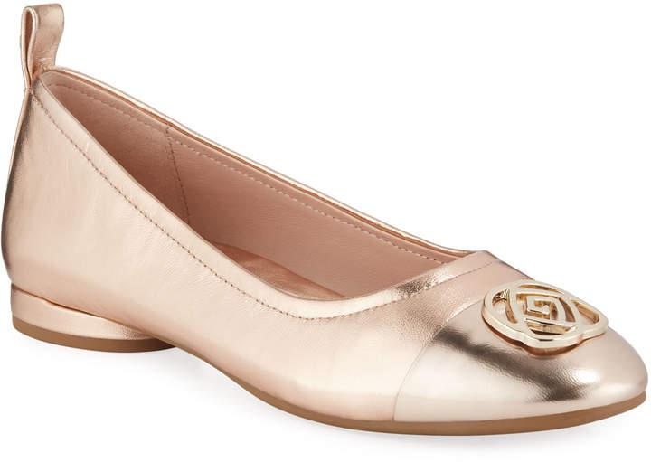 Taryn Rose Penelope Metallic Leather Comfort Flats