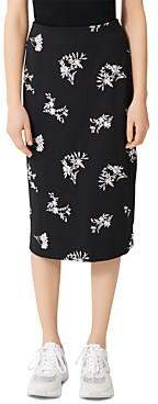 Maje Japeni Floral Print Midi Skirt
