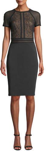 Tadashi Shoji Short-Sleeve Sheath Dress with Lace Bodice & Neoprene Skirt