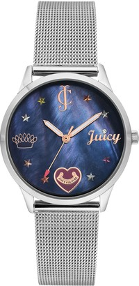 Juicy Couture Stainless Mesh Watch w/ Navy Dial