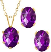 Gem Stone King 2.50 Ct Checkerboard Amethyst Gold Plated Silver Pendant Earrings Set