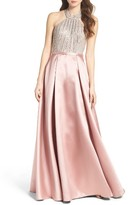 Xscape Evenings Women's Beaded Halter Ballgown