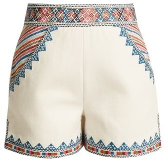 Talitha Collection Zoya-embroidered Cotton Shorts - Ivory