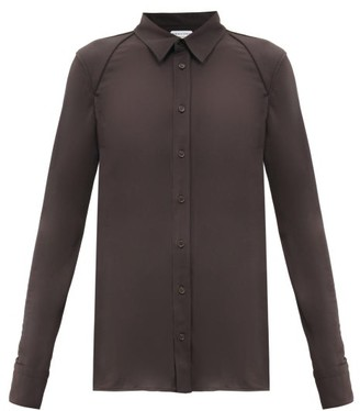 Bottega Veneta Panelled-shoulder Technical-jersey Shirt - Dark Brown