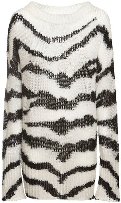 Stella McCartney Zebra Intarsia Knit Wool Blend Sweater