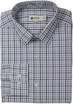Haggar Men's North Sea Check Point Collar Regular Fit Long Sleeve Dress Shirt, Medium Grey, 16x32/33
