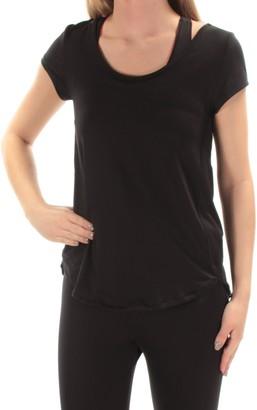 Calvin Klein Women's Mesh Open Strappy Back Shortsleeve Tee