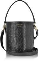 Meli-Melo Black Woven Leather Santina Mini Bucket Bag