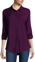 Liz Claiborne Long-Sleeve Roll-Tab Rayon Blouse