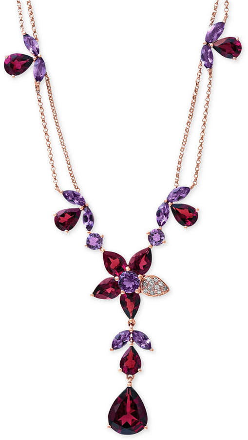 """Effy Bordeaux by Garnet (13-1/5 ct. t.w.), Amethyst (3-1/2 ct. t.w.) and Diamond Accent Necklace in 14k Rose Gold, 16"""" + 2"""" Extender"""