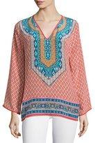 Tolani Mona V-Neck Printed Border Tunic, Coral, Plus Size