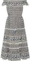 Sea Margherita Crochet-trimmed Printed Silk Midi Dress - Black
