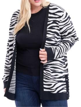 Fever Plus Size Zebra-Print Open-Front Cardigan