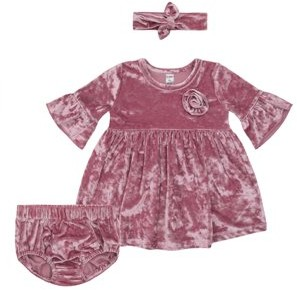 Petit Lem Crushed Velvet Dress, Diaper Cover, and Headband, 3pc Outfit Set (Baby Girls)