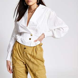 River Island Womens White shirred waist nylon shirt