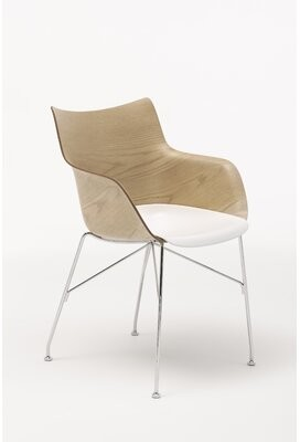 Kartell Arm Chair Seat Color: White, Back Color: Light wood