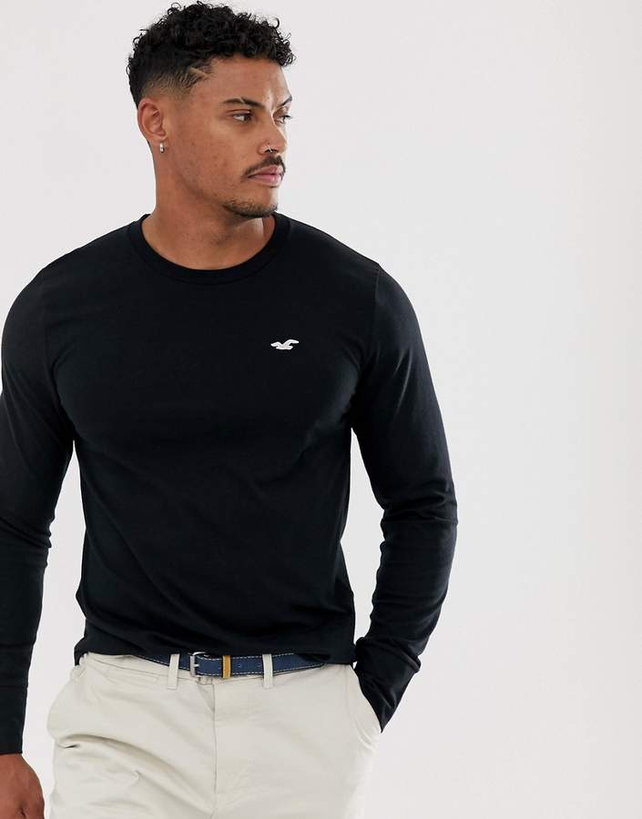 Hollister icon logo long sleeve top in black
