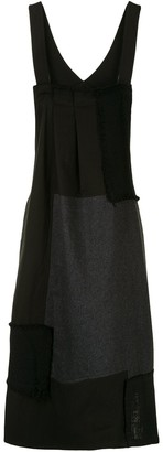 Y's Patchwork Raw Edge Pinafore Dress