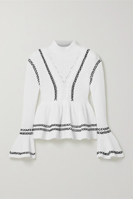 Self-Portrait Whipstitched Cotton Peplum Sweater - White