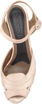 Marni Metallic Leather Platform Wedge Sandal, Light Pink