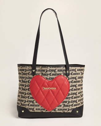 Juicy Couture Beige & Black Gothic Heartbreaker Tote Bag
