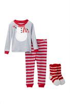 Petit Lem Snowman Costume PJ Set & Socks (Baby)