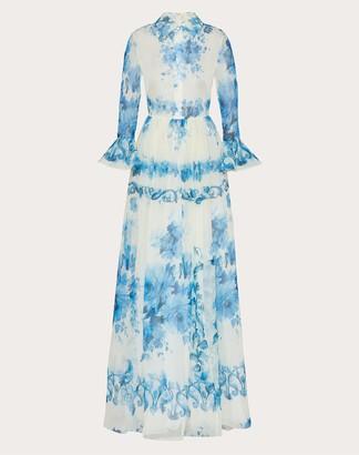 Valentino Printed Organza Evening Dress Women Ivory/blue Silk 100% 40