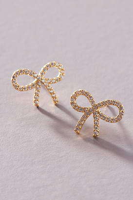 Anthropologie Ribbon Bow Post Earrings By in Clear