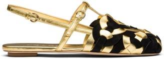 Prada Woven Motif Flat Sandals