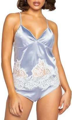 Roma Elegant Satin & Eyelash Lace Pajama Set