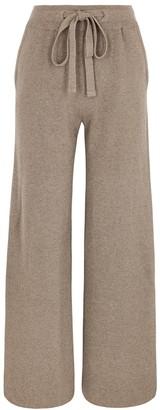 Nanushka Oni taupe wide-leg ribbed-knit trousers