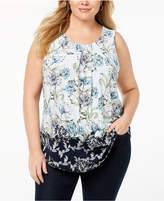 Charter Club Plus Size Printed Contrast-Hem Top, Created for Macy's
