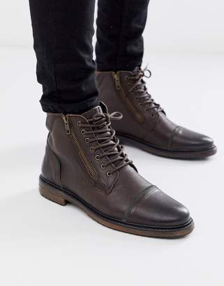 Silver Street leather side zip lace up boot in brown